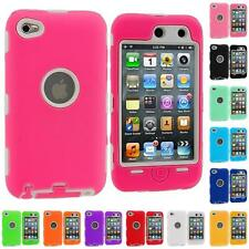 DELUXE 3-PIECE HYBRID HARD/SOFT CASE COVER FOR IPOD TOUCH 4 4TH GEN+PROTECTOR