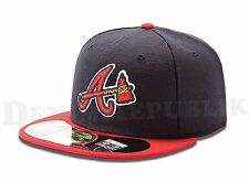 New Era 5950 Atlanta Braves Alternate MLB Baseball Cap Navy & Red Fitted Hat