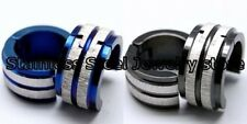 Earrings Mens Hoop Stainless Steel Squared Huggie Cuff Earrings Stripe Frosted
