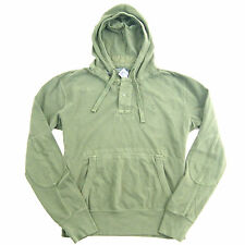 New Ralph Lauren Polo Men's Weathered Half Button Hoodie Sweatshirt- Olive Green