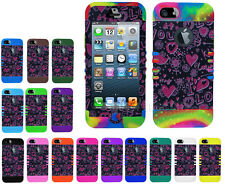 Flowers Hearts I Love You Impact Hybrid Snap on Cover Case for Apple iPhone 5