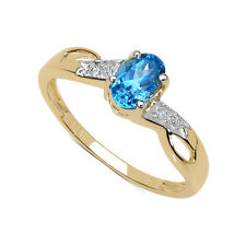 9CT GOLD BLUE TOPAZ & DIAMOND ENGAGEMENT RING