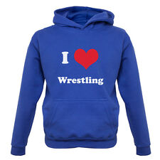 I Love Wrestling Kids / Childrens Hoodie - 7 Colours XS-XXL - Equipment - Gift