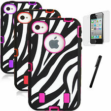 New Zebra Pattern Case for Apple iPhone 4 4S Hybrid Cover Hot Pink Purple Red