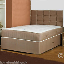 Hf4you 1000 Pocket Victorian Divan Bed Set, Brown, Drawer Options, All Sizes