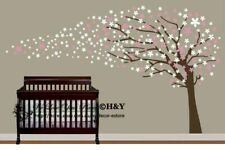 Cot Side Blowing Tree Flower Blossom Removable Wall Stickers Kids Nursery Decor