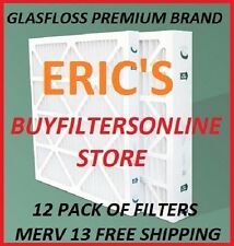 12 PACK MERV 13 ULTRA PREMIUM GLASFLOSS PLEATED HOME FURNACE AC AIR FILTERS