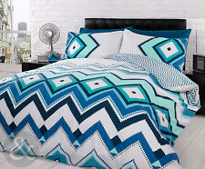 Aztec Duvet Cover Set Teal Blue White Contemporary Bedding Quilt Cover Bed Sets