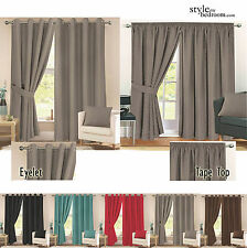 Pair Fully Lined Jacquard Diamond Detail Curtains + Ties in 11 Sizes & 6 Colours