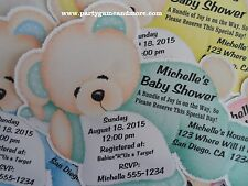 UNIQUE PERSONALIZED PARTY FAVOR BABY SHOWER BEAR INVITATIONS OR THANK YOU CARDS