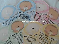 UNIQUE PERSONALIZED BABY SHOWER INVITATION/THANK YOU CARDS SHAPED LIKE BABY CUTE