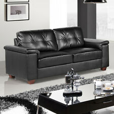 Windsor Black Leather Sofa Collection 3 Seater, 2 Seater & Armchairs