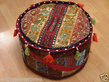 HANDMADE Indian/Ethnic Pouffe Bean Bag Cover Sari Patchwork Foot-Stool Ottoman 5