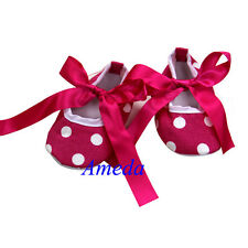 Baby Girls Hot Pink Ribbon Bow Polka Dots Minnie Mouse Crib Shoes NB-18M