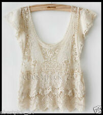 FREE GIFT + Vtg HIPPIE Boho People IVORY sheer Floral CROCHET lace Dress TOP