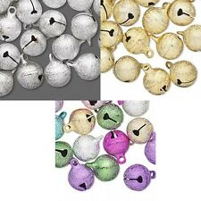 25 Round 12mm Brass Jingle Bell Charms Textured Stardust Finish & Hanging Loop