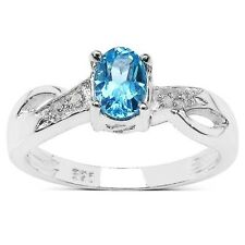 STERLING SILVER BLUE TOPAZ & DIAMOND ENGAGEMENT RING SIZE HIKLNOPQRSTUVW