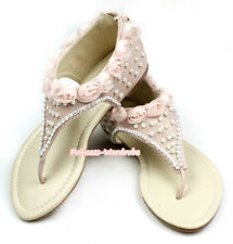 Light Pink Rose Lacing Pearl Zip Up Wedding Party Girl Kids Flat Sandals 1-708