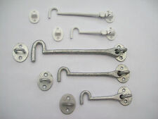 Cast Iron Galvanised/White Cabin Hook and Eye Shed Gate Door Latch