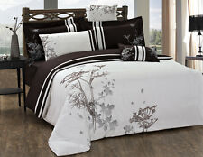 New Stunning chocolate  flowers Luxury Duvet Cover 7pcs Set QUEEN AND KING