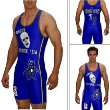 Zombie wrestling singlet w custom text, blue great for greco and freestyle