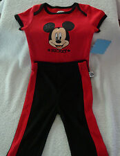 INFANT/BABY BOYS 2PC DISNEY MICKEY MOUSE BODYSUIT & PANTS SET  SIZE 6-9 MONTHS