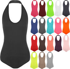New Womens Plain Halter Neck Sleeveless Ladies Stretch Leotard Top Bodysuit 8-14