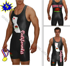 California State wrestling singlet in blk, custom text included, see our store