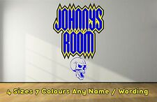 Funky Personalised Skull Name Horror Decals Wall  Sticker Boys Girls Dblue NWSDB