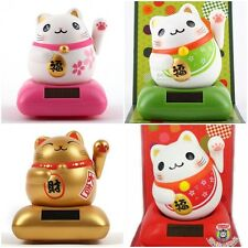 JAPAN ECO SOLAR ENERGY NOHOHON LUCK CAT CHUBBY - MOVE HEAD & HAND -RELAXING