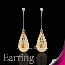 Fashion 18K GP Gold Plated Earring Use Swarovski Crystal 2039 Free Pouch