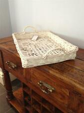 LARGE COUNTRY STYLE SHALLOW WICKER TRAY SHOP DISPLAY KITCHEN BREAD BASKET HAMPER
