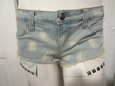 TRIPP NYC SLIGHT ACID WASH FRAYED POCKET STUDS SHORTS FROM HOT TOPIC