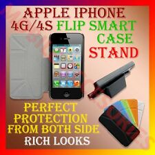 SMART COVER for APPLE IPHONE 4S 4G 4 STAND LEATHER FLIP FLAP FRONT & BACK CASE