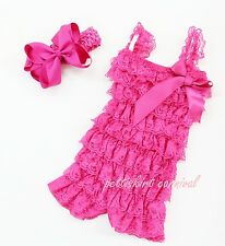 Newborn Baby Girls Hot Pink Lace Petti Posh Rompers Straps Bow Headband 2pc Set