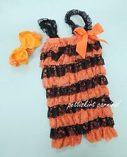 Halloween Newborn Baby Orange Black Lace Petti Rompers Straps Bow Headband 2pc