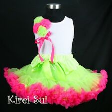 Lime Green Hot Pink Pettiskirt Rosettes Pettitop 2pc Party Dress 1-7Y DNWZ35