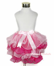 Baby Light Hot Pink Petal Pettiskirt Light Pink Bow Girl Dance Tutu Dress NB-8Y