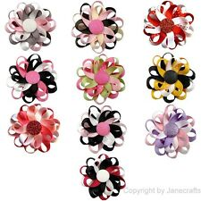 "10pcs 3"" Boutique Girl Baby Flower Loop Hair Bow Alligator Clip Mixed 10 Color"