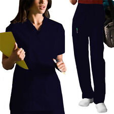 WOMEN DICKIES EVERYDAY SCRUBS MISSY FIT V-NECK TOP CARGO PANT SOLID SCRUB SET