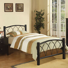Contemporary Youth Kids Black Durable Metal Twin/ Full Slats Bed New