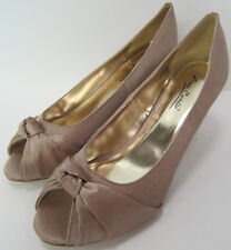 Anne Michelle L2978 - Ladies Knot Detail Peep Toe Taupe Satin Wedding Shoes
