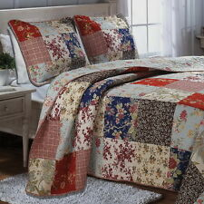 CHIC SHABBY COTTAGE Patchwork QUILT BEDSPREAD SET Oversized (to the floor)