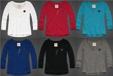 HOLLISTER BY ABERCROMBIE WOMENS HENLEY T-SHIRT LONG 3/4 SLEEVE BUTTONS EASY FIT