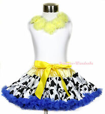 White Pettitop Tank Top Yellow Rosettes with Yellow Milk Cow Pettiskirt 1-8Year