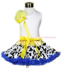 White Pettitop Bunch Of Yellow Rosettes with Yellow Milk Cow Pettiskirt 1-8Y