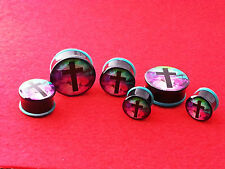New Acrylic Galaxy  with Black Cross Single Flared  Plugs. ( 2 Gauge to 1 inch )