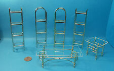 dolls house miniature 1:12 scale chrome or brass furniture 6 item to choose.