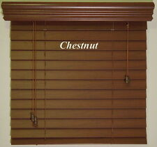 "2"" Wood Tones ~ Faux Wood Blinds ~ 24"" Width x 61"" to 72"" Length ~Chestnut~Oak"