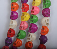 50/100Pcs 6X8MM mixed multicolour Turquoise skull Day of the Dead Spacer Beads